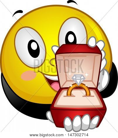 Mascot Illustration of a Lovestruck Smiley Presenting an Engagement Ring with a Diamond on Top