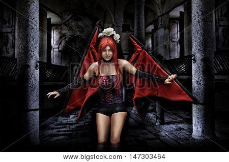sexy vampire woman in creepy castle on Halloween
