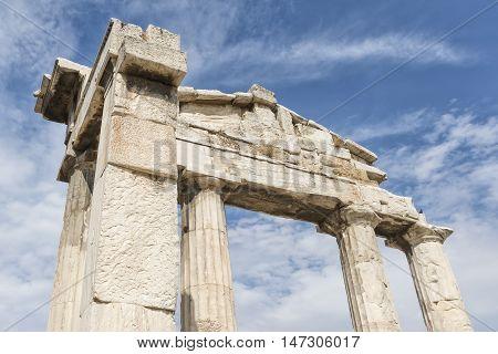 Gate of Athena Archegetis At The Entrance Of Roman Agora, Athens, Greece