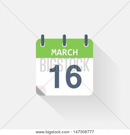 16 march calendar icon on grey background