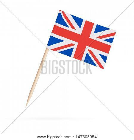 Miniature paper flag Great Britain. Isolated British flag pointer on white background. With shadow below