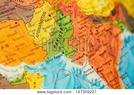 Map Afghanistan and Pakistan close-up macro image. Selective focus