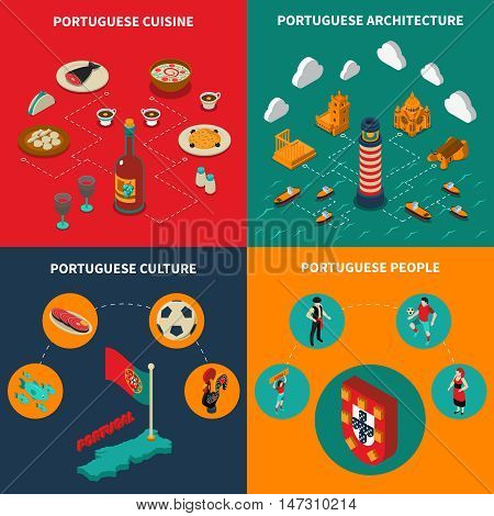 Portugal concept icons set with cuisine and culture symbols isometric isolated vector illustration