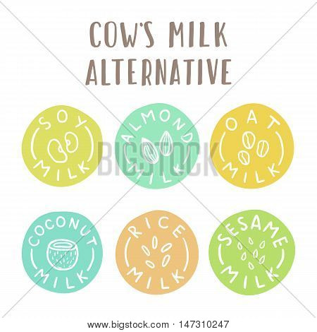 Cows milk alternative. Set of 6 plant-based milk labels
