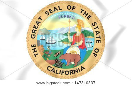 Seal of California USA. 3D Illustration. Close Up.