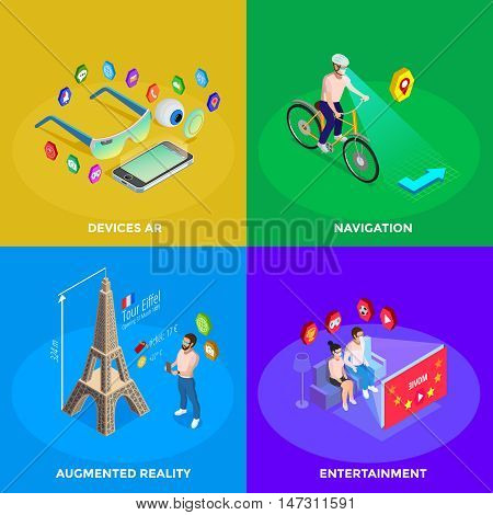 Augmented reality devices for family entertainment and navigation experience 4 isometric icons square poster isolated vector illustration