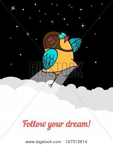Bird flies into space. Follow your dreams. Vector illustration