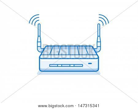 Wi-fi router icon. Wifi router for small workgroup. Network device series vector illustration