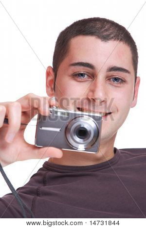 Young photographer over white background
