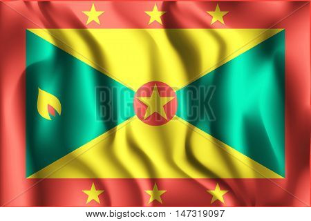 Flag Of Grenada. Rectangular Shaped Icon With Wavy Effect