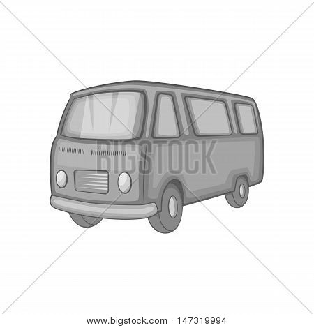 Classic van, retro style icon in black monochrome style on a white background vector illustration