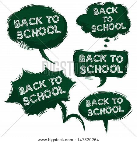 Vector Set Of Grundge Green Bubbles - Back To School