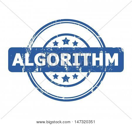 Algorithm blue stamp with stars isolated on a white background.