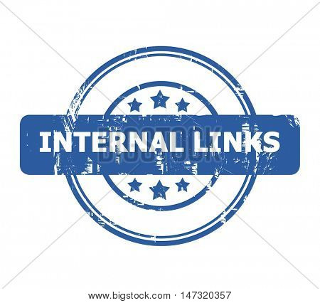 Internal Links Stamp with stars isolated on a white background.