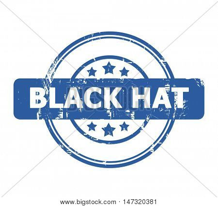 Black Hat stamp with stars isolated on a white background.