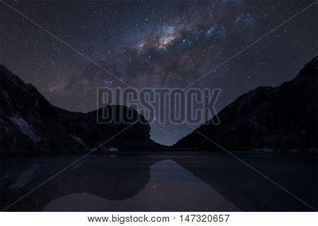 Milky Way over Kawah ijen crater lake.