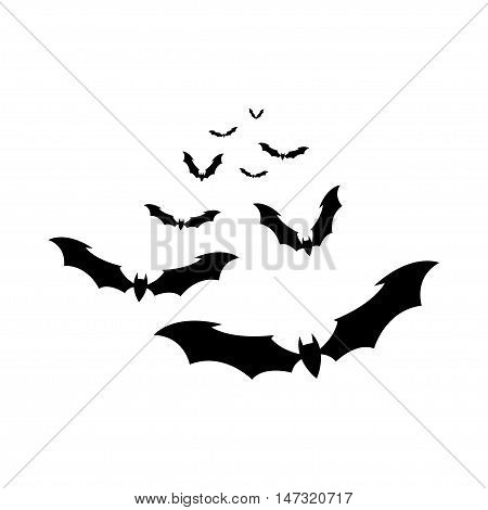 Flock of bats on a white background. Illustration for your design for Halloween. Vector EPS10.