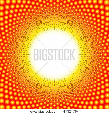 White heat pattern with blazing center - composed of gleaming balls.