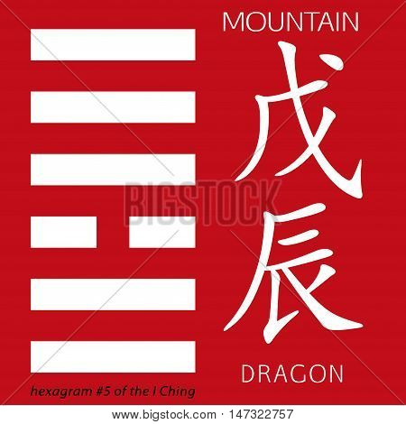 Symbol of i ching hexagram from chinese hieroglyphs. Translation of 12 zodiac feng shui signs hieroglyphs- mountain and dragon.