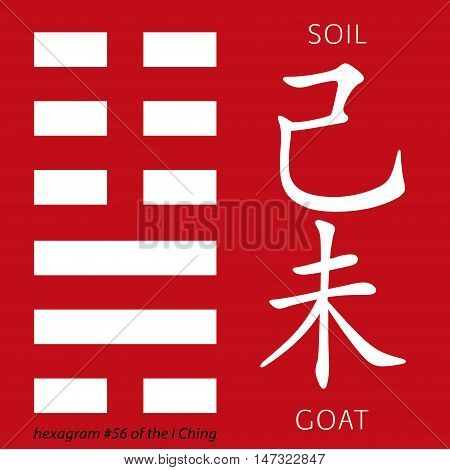 Symbol of i ching hexagram from chinese hieroglyphs. Translation of 12 zodiac feng shui signs hieroglyphs- soil and goat.