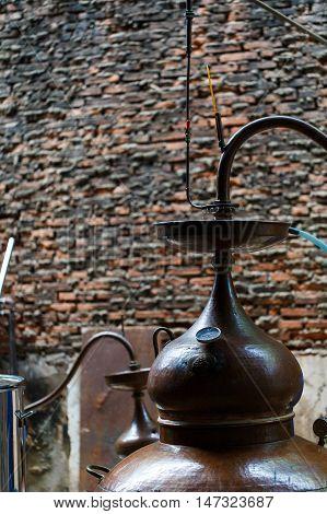 Rum distillery in Manufacture in Cambodia, vertical