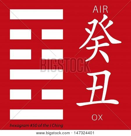 Symbol of i ching hexagram from chinese hieroglyphs. Translation of 12 zodiac feng shui signs hieroglyphs- air and ox.