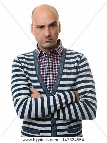 Serious Man With Arms Folded. Isolated