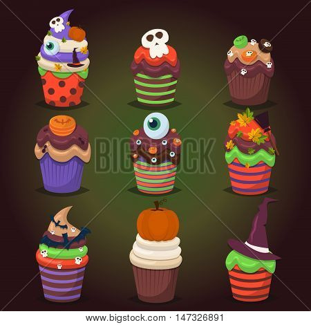 Cupcake happy halloween scary sweets. Pumpkin chocolate decorated icing bats. Halloween vector halloween cupcakes promo party invitation. Trick or treat halloween cupcakes dessert food pumpkin party.