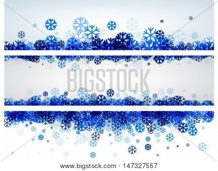 White winter banners set with blue snowflakes. Vector illustration.