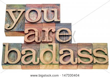 you are badass  - isolated word abstract in letterpress wood type printing blocks stained by color inks