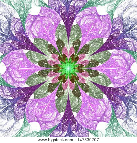 Flower mandala. Abstract colorful pink purple and green ornament on white background. Fantasy fractal design for posters wallpapers or t-shirts. Digital art. 3D rendering.