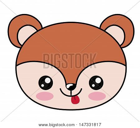 Squirrel with kawaii face icon. Cute animal cartoon and character theme. Isolated design. Vector illustration poster