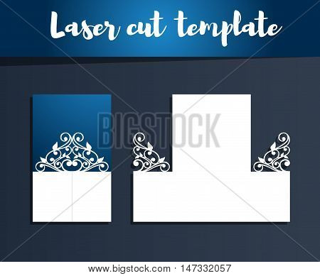 Laser Cut Template For Invitation Or Greeting Card. Openwork Silhouette For Cutting. Paper Cut Out C