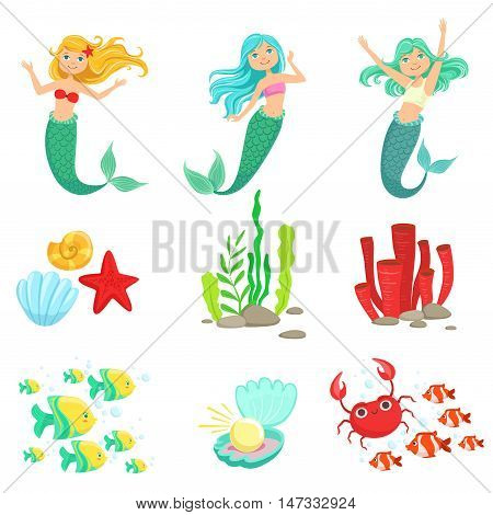 Mermaids And Underwater Nature Stickers. Cute Cartoon Childish Style Illustrations Isolated On White Background.
