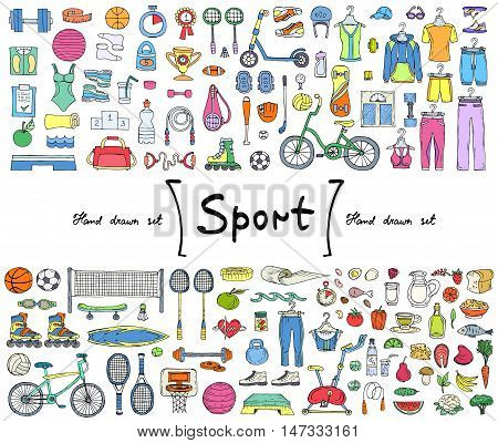 Vector set with hand drawn isolated colored doodles on the theme of sport fitness healthy lifestyle. Illustrations of sports equipment sportwear and food. Sketches for use in design