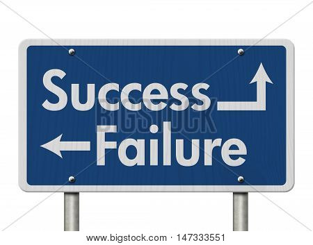 Difference between Success and Failure Blue Road Sign with text Success and Failure isolated over white, 3D Illustration