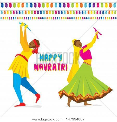 celebrate navratri festival with dancing garba design vector