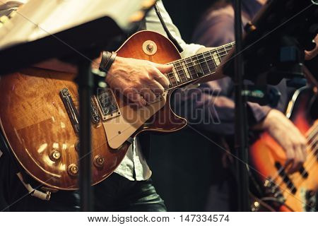 Guitar Players On A Stage, Selective Focus