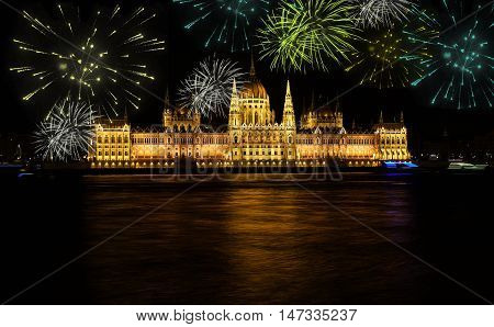 Fireworks over Budapest parliament at night. Hungary
