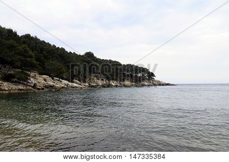 Vertical landscape of Sea and coast in Bandol French riviera France