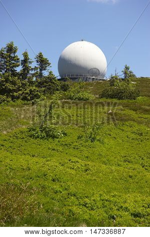 GROSSER ARBER, GERMANY - JUNE 16 2013: NATO distant early warning, high-resolution radar on 1456 m high peak in Bayerische Wald. National park in Bavaria.