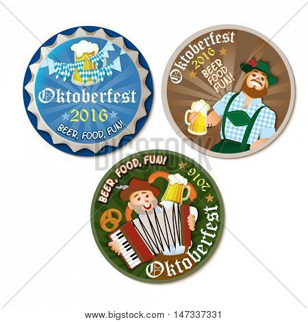 Beautiful Oktoberfest beer round coasters with pretzel, bavarian man and woman. Vector illustration