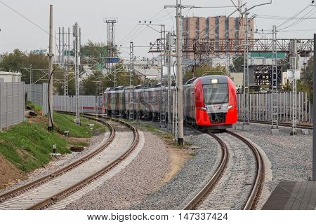 MOSCOW, RUSSIA - SEPTEMBER 13, 2016: Central Circle Line MCC Lastochka train at the station Krimskaya
