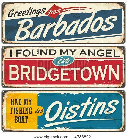 Barbados cities and travel destinations. Retro souvenirs collection on old damaged background with places to visit on Barbados. Vacation theme.