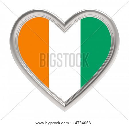 Cote de Ivoire flag in silver heart isolated on white background. 3D illustration.