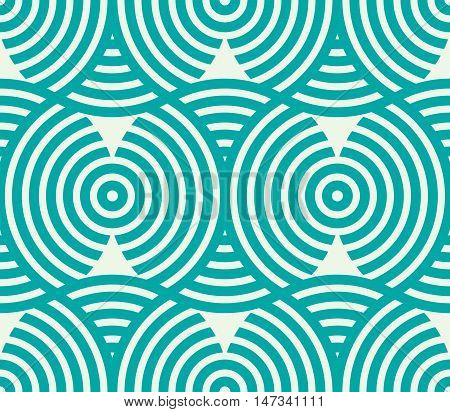 Vector geometric seamless pattern abstract endless composition created with overlay curls and circles.