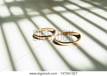 two gold wedding rings on the shadow