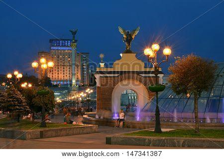 View of Maidan Nezalezhnosti square at evening time. Kiev Ukraine.