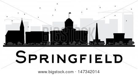 Springfield City skyline black and white silhouette. Vector illustration. Simple flat concept for tourism presentation, banner, placard or web site. Business travel concept. Cityscape with landmarks