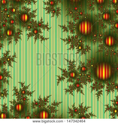Fractal Christmas tree branches decorated with gold-red balls, vintage style striped background for Xmas and New Year with empty space.